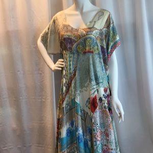 Johnny Was XL Silk Patchwork Maxi Dress NWT